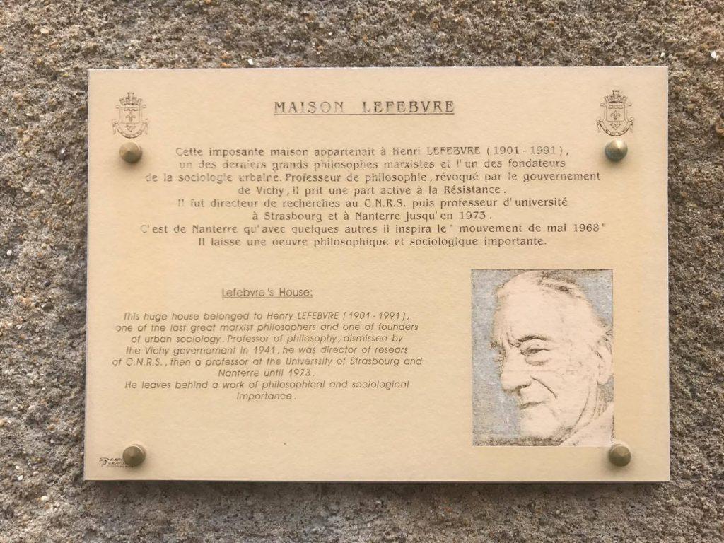 Henri Lefebvre plaque